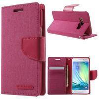 Luxury textilné / koženkové puzdro na Samsung Galaxy A3 - rose - 1/7