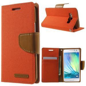 Luxury textilné / koženkové puzdro pre Samsung Galaxy A3 - oranžové - 1
