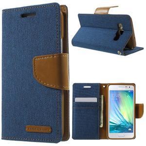 Luxury textilné / koženkové puzdro pre Samsung Galaxy A3    - modré - 1