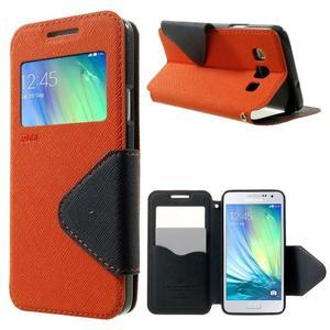 Roar peňaženkové puzdro s okienkom na Samsung Galaxy A3 - oranžové - 1