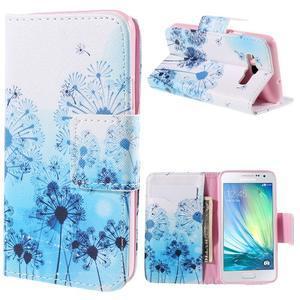 Peňaženkové púzdro na Samsung Galaxy A3 - modré púpavy - 1