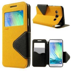 Roar peňaženkové puzdro s okienkom na Samsung Galaxy A3 - žlté - 1