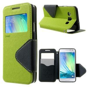 Roar peňaženkové puzdro s okienkom pre Samsung Galaxy A3 - zelené - 1
