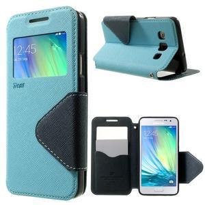 Roar peňaženkové puzdro s okienkom pre Samsung Galaxy A3 - svetlomodré - 1