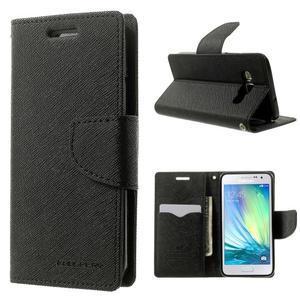 Diary PU kožené puzdro na Samsung Galaxy A3 - čierne - 1