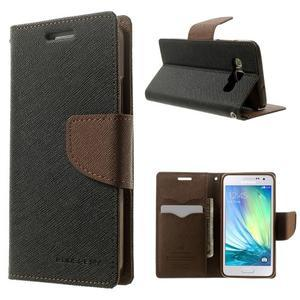 Diary PU kožené puzdro pre Samsung Galaxy A3 - čierne/hnedé - 1