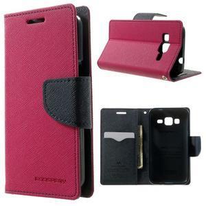 Fancy PU kožené puzdro pre Samsung Galaxy Core Prime - rose - 1