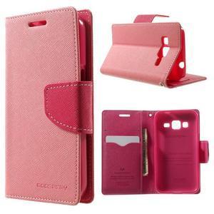 Fancy PU kožené puzdro pre Samsung Galaxy Core Prime - ružové - 1
