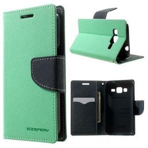 Fancy PU kožené puzdro pre Samsung Galaxy Core Prime - azúrové - 1