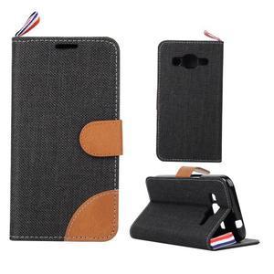 Jeans textilní/koženkové pouzdro na Samsung Galaxy Core Prime - černé - 1