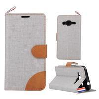 Jeans textilné/koženkové puzdro pre Samsung Galaxy Core Prime - šedé - 1/4