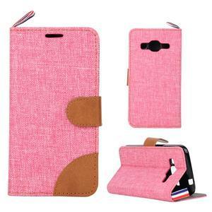 Jeans textilní/koženkové pouzdro na Samsung Galaxy Core Prime - růžové - 1