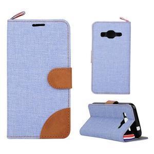 Jeans textilné/koženkové puzdro pre Samsung Galaxy Core Prime - svetlo modré - 1