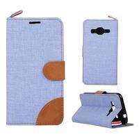 Jeans textilné/koženkové puzdro pre Samsung Galaxy Core Prime - svetlo modré - 1/4