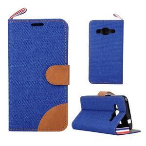 Jeans textilné/koženkové puzdro pre Samsung Galaxy Core Prime - modré - 1