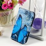 Puzdro na mobil Samsung Galaxy Core Prime - modrý motýl - 1/7
