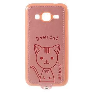 Kočička Domi kryt s koženkovými zády na Samsung Galaxy Core Prime - růžový - 1