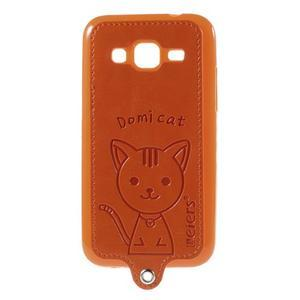 Kočička Domi kryt s koženkovými zády na Samsung Galaxy Core Prime - oranžový - 1