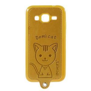 Mačička Domi kryt s koženkovým chrptom pre Samsung Galaxy Core Prime - žltý - 1