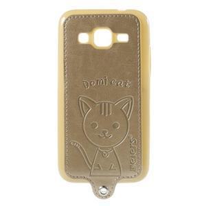 Mačička Domi kryt s koženkovým chrptom pre Samsung Galaxy Core Prime - zlatý - 1