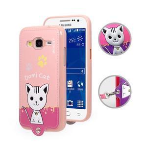 Mačička Domi obal pre mobil Samsung Galaxy Core Prime - ružový - 1
