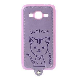 Mačička Domi kryt s koženkovým chrptom pre Samsung Galaxy Core Prime - fialový - 1