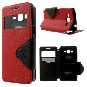 Safety puzdro s okienkom pre Samsung Galaxy Grand Prime - červené - 1
