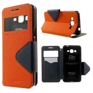 Safety puzdro s okienkom pre Samsung Galaxy Grand Prime - oranžové - 1