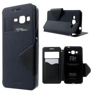 Safety puzdro s okienkom pre Samsung Galaxy Grand Prime - tmavomodré - 1