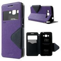 Safety puzdro s okienkom pre Samsung Galaxy Grand Prime - fialové - 1/7