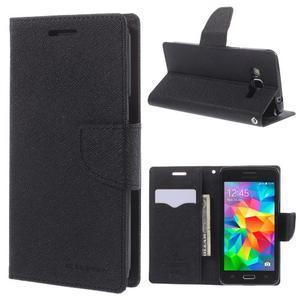 Diary PU kožené puzdro na mobil Samsung Galaxy Grand Prime - čierne - 1