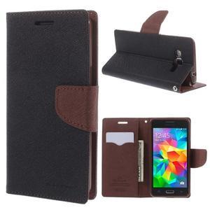 Diary PU kožené puzdro pre mobil Samsung Galaxy Grand Prime - čierne/hnedé - 1