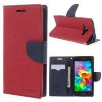 Diary PU kožené puzdro na mobil Samsung Galaxy Grand Prime - červené - 1/7
