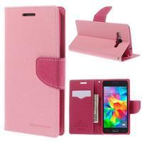 Diary PU kožené puzdro na mobil Samsung Galaxy Grand Prime - ružové - 1/7