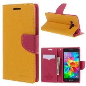 Diary PU kožené puzdro na mobil Samsung Galaxy Grand Prime - žlté - 1