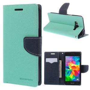 Diary PU kožené puzdro pre mobil Samsung Galaxy Grand Prime - cyan - 1
