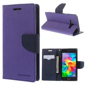 Diary PU kožené puzdro na mobil Samsung Galaxy Grand Prime - fialové - 1
