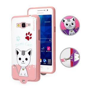 Mačička Domi s PU koženým chrbtom pre Samsung Galaxy Grand Prime - biela - 1