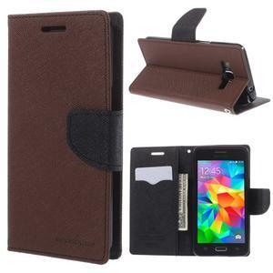 Diary PU kožené puzdro na mobil Samsung Galaxy Grand Prime - hnedé - 1