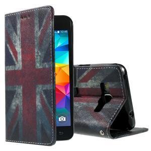 Wallet PU kožené puzdro pre mobil Samsung Galaxy Grand Prime - UK vlajka - 1