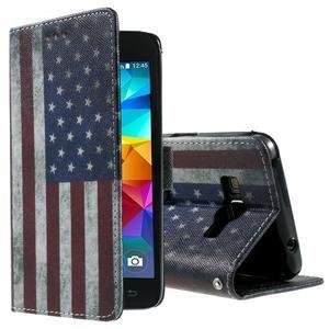 Wallet PU kožené puzdro na mobil Samsung Galaxy Grand Prime - US vlajka - 1