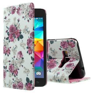 Wallet PU kožené puzdro pre mobil Samsung Galaxy Grand Prime - kvietky - 1