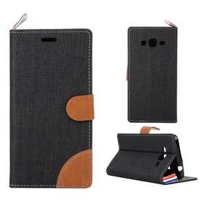 Jeans koženkové / textilné puzdro pre Samsung Galaxy Grand Prime - čierne - 1