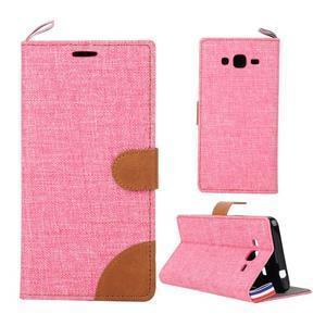 Jeans koženkové / textilné puzdro pre Samsung Galaxy Grand Prime - ružové - 1