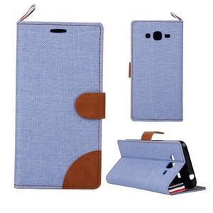 Jeans koženkové / textilné puzdro pre Samsung Galaxy Grand Prime - svetlomodré - 1