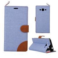 Jeans koženkové / textilné puzdro pre Samsung Galaxy Grand Prime - svetlomodré - 1/5