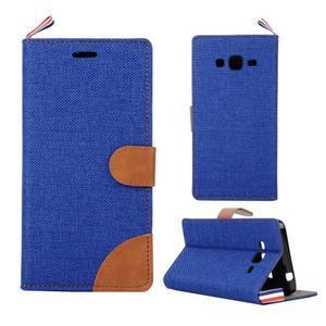 Jeans koženkové / textilné puzdro pre Samsung Galaxy Grand Prime - modré - 1