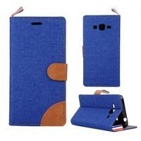 Jeans koženkové / textilné puzdro pre Samsung Galaxy Grand Prime - modré - 1/5