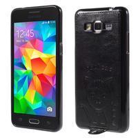 Mačička Domi kryt s PU koženými chrbtom pre Samsung Galaxy Grand Prime - čierny - 1/6