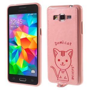 Mačička Domi kryt s PU koženým chrbtom pre Samsung Galaxy Grand Prime - ružový - 1